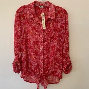 Kut from the Kloth Watercolor Floral Sheer Blouse